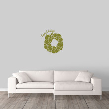 """Happy Holidays Wreath Wall Decal 17"""" wide x 18"""" tall Sample Image"""