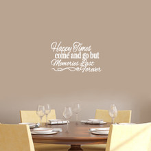 """Happy Times Come And Go But Memories Last Forever Wall Decals Wall Stickers 18"""" wide x 11"""" tall Sample Image"""