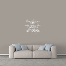 """Home Family Blessing Wall Decal 24"""" wide x 20"""" tall Sample Image"""