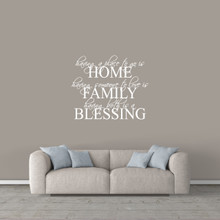 """Home Family Blessing Wall Decal 36"""" wide x 30"""" tall Sample Image"""