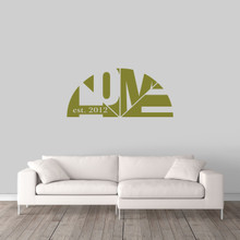 "Custom Home With Established Year Wall Decal 48"" wide x 22"" tall Sample Image"