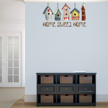 "Home Sweet Home Bird Houses Printed 36"" wide x 20"" tall Sample Image"