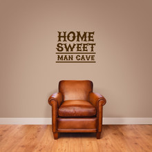 """Home Sweet Man Cave Wall Decal 18"""" wide x 14"""" tall Sample Image"""