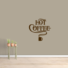 """Hot Coffee Wall Decal 22"""" wide x 22"""" tall Sample Image"""