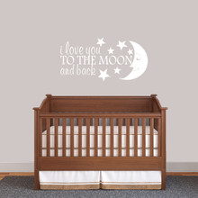 """I Love You To The Moon And Back Wall Decal 36"""" wide x 18"""" tall Sample Image"""