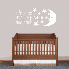 """I Love You To The Moon And Back Wall Decal 48"""" wide x 22"""" tall Sample Image"""