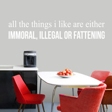 """All The Things I Like Wall Decal 60"""" wide x 12"""" tall Sample Image"""