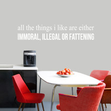 """All The Things I Like Wall Decal 48"""" wide x 10"""" tall Sample Image"""
