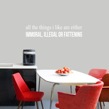 """All The Things I Like Wall Decal 36"""" wide x 8"""" tall Sample Image"""
