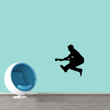 """Jumping Guitar Player Wall Decal 22"""" wide x 24"""" tall Sample Image"""