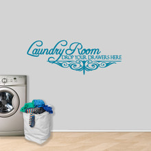 """Laundry Room Drop Your Drawers Wall Decal 60"""" wide x 22"""" tall Sample Image"""