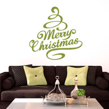 Merry Christmas Tree Wall Decals and Stickers