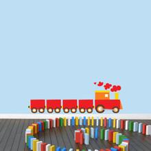 """Choo Choo Train Printed Wall Decals 48"""" wide x 16"""" tall Sample Image"""