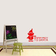 """Elf Reporting Directly to Santa Wall Decal 36"""" wide x 22"""" tall Sample Image"""