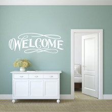 "Fancy Welcome Wall Decals 60"" wide x 22"" tall Sample Image"