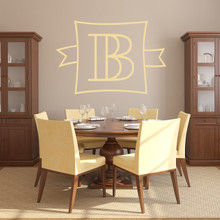"""Custom Monogram Frame With Banner Wall Decal 36"""" wide x 24"""" tall Sample Image"""