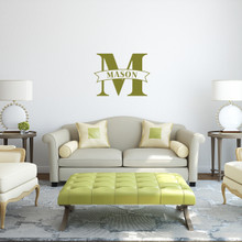 """Custom Name Banner And Monogram Wall Decal 24"""" wide x 18"""" tall Sample Image"""