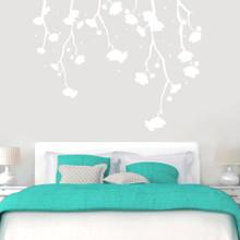 """Hanging Flowers Wall Decals 72"""" wide x 56"""" tall Sample Image"""