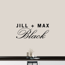 "Custom Couple Name Wall Decal 36"" wide x 16"" tall Sample Image"