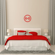 "Custom Circle Initials Wall Decal 12"" wide x 12"" tall Sample Image"