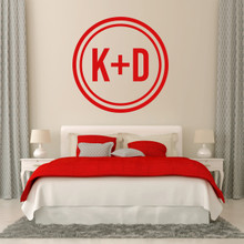 "Custom Circle Initials Wall Decal 36"" wide x 36"" tall Sample Image"