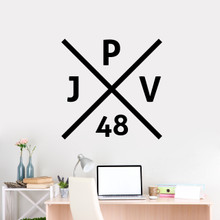 "Custom Crossed X Monogram Wall Decal 36"" wide x 36"" tall Sample Image"