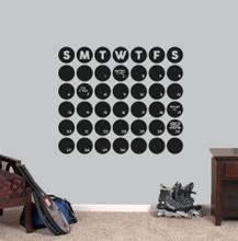 "Chalkboard Circle Calendar Wall Decals 30"" wide x 25.5"" tall Sample Image"