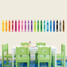 """Crayons Printed Wall Decals 64"""" wide x 12"""" tall Sample Image"""
