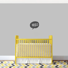 """Hello Word Bubble Wall Decal 12"""" wide x 11"""" tall Sample Image"""