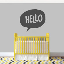 """Hello Word Bubble Wall Decal 36"""" wide x 32"""" tall Sample Image"""