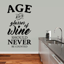 """Age And Glasses Of Wine Wall Decal 34"""" wide x 60"""" tall Sample Image"""