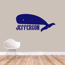 "Custom Whale Name Wall Decal 48"" wide x 22"" tall Sample Image"