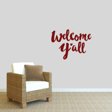 """Welcome Y'all Ohio Wall Decal 24"""" wide x 18"""" tall Sample Image"""