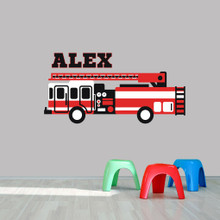 "Custom Name Fire Truck Printed Wall Decal  60"" wide x 30"" tall Sample Image"