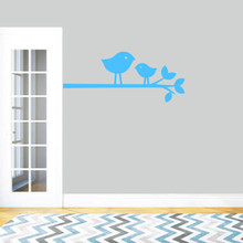 """Birdies On Branch Wall Decal 36"""" wide x 15"""" tall Sample Image"""