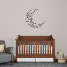 """I Love You To The Moon And Back Script Wall Decal 24"""" wide x 24"""" tall Sample Image"""
