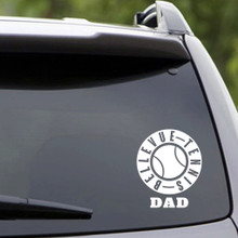 White Bellevue Tennis Dad Vehicle Decal Sample Image
