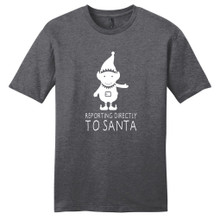 Heathered Charcoal Elf Reporting Directly To Santa T-Shirt