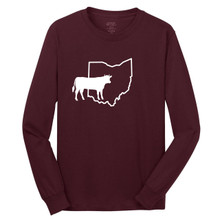 Athletic Maroon Custom State Cow Silhouette Long Sleeve T-Shirt