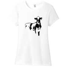 White Cow Silhouette Women's Fitted T-Shirt