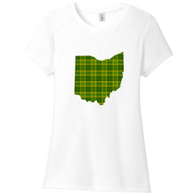 White Custom Green Plaid State Silhouette Women's Fitted T-Shirt