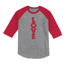Love Youth 3/4 Length Sleeve Raglan T-Shirt, red sleeves with grey body