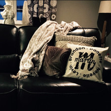 Example of custom Family Name and Monogram pillow.