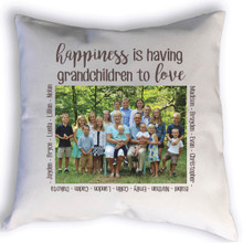This beautiful custom pillow for grandparents is sure to be a hit. Featuring a photo and names of grandchildren customized with your photo and information.