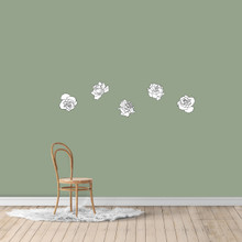 Black and White Roses Printed Wall Decals Small Sample Image
