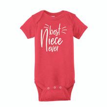 Infant Onesie T-Shirt, Best Niece Ever design on Vintage Red
