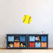 """Softball Printed Wall Decal 12"""" wide x 12"""" tall Sample Image"""