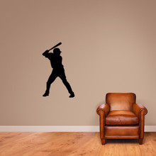 "Baseball Batter Silhouette Wall Decal 21"" wide x 36"" tall Sample Image"