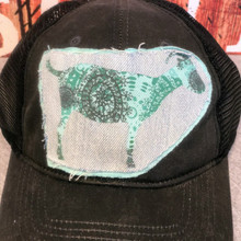 Black Soft Faux Leather Mesh Back Teal Goat Patch Cap