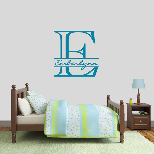 "Custom Monogram With Name Wall Decal 30"" wide x 30"" tall Sample Image"